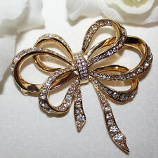 K.J.L FOR AVON SIGNED MASSIVE 2 3/4 RHINESTONE RIBBON PIN -MINT WITH NO WEAR!!!!