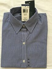NWT Women's Ralph Lauren Long Sleeves Button Down Dress Shirt Navy/White- L/g