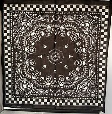 Black White Checked SKULL Paisley Print Bandanna Handkerchief Head Neck SCARF