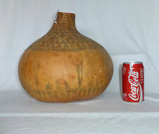 Large Vintage African Etched Calabash Gourd Pot Vessel Elephants MADE IN KENYA