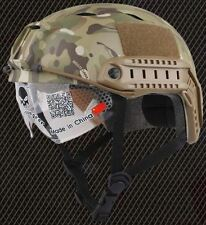 CASCO Airsoft BJ tipo Ops veloce Base Jump Casco + Visiera MULTICAM con Arco Rotaie
