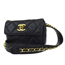 Authentic CHANEL CC Logos Quilted Bum Bag Pouch Leather Black Vintage 39W212