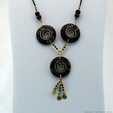Maasai Market African Jewelry Masai Copper Wire Wood Bead Necklace Brown 125-27