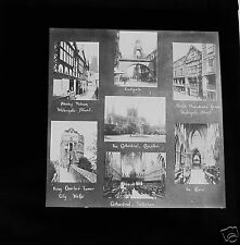 UNUSUAL Glass Magic lantern slide  CHESTER SPLIT IMAGES C1900