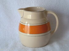 Antique ROSEVILLE Pottery Decorated UTILITY Ware Orange Band PITCHER