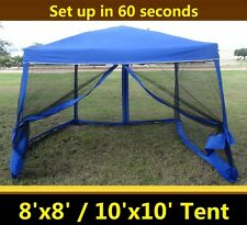 8'x8'/10'x10' Pop Up Canopy Party Tent Gazebo EZ w Net - Blue