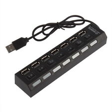 Mini Black 7Port USB 2.0 High Speed HUB ON/OFF Sharing Switch New OV