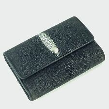 Black Stingray Skin Trifold Wallet Ladies Womens Clutch Snap Flap Exotic Pebbled