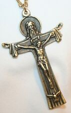 Large Scupted Brasstone Holy Trinity Crucifix Cross Necklace