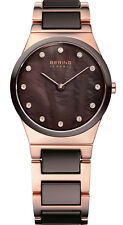 Bering Women's Brown Ceramic Rose Gold Tone Stainless Steel Watch 32230-765