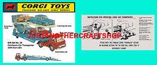 Corgi Toys GS 28 Bedford Car Transporter Instruction Leaflet & Poster Sign
