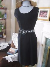vtg 60's ? Dark Gray Wool Jumper Fitted Dress S M Scoop Neck Tailored