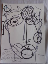ROYSTON DU MAURIER-LEBEK ORIGINAL FACE DRAWING SIGNED FELT TIP PEN ON PAPER (U)