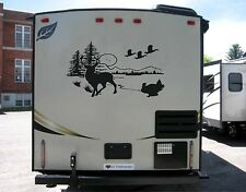 Deer Scene with mountains Decal for rv travel trailer camper LOOK
