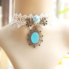 Light Blue Stone Vintage Victorian Gothic Velvet Choker white Lace Necklace