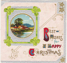 RARE 1800s EMBOSSED BEST WISHES FOR HAPPY CHRISTMAS CARD COTTAGE SCENE COLORFUL