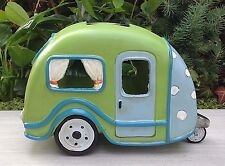 Miniature Dollhouse FAIRY GARDEN ~ Lime Green Camper Trailer House w Solar Light