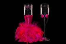 Wedding Bride and Groom Black Fuchsia Toasting Champagne Flutes Glasses Gift