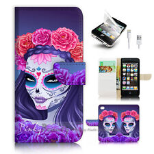 iPhone 5 5S Flip Wallet Case Cover! P2277 Sugar Skull
