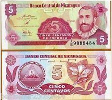 NICARAGUA 5 CENTAVO UNC NOTE  # 59