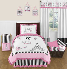 SWEET JOJO DESIGNS PINK & BLACK PARIS FRANCE TWIN GIRLS TEENS LUXURY BEDDING SET