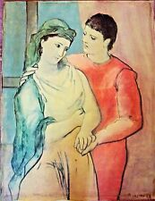 VINTAGE 1960s PABLO PICASSO THE LOVERS NEOCLASSICAL PERIOD LITHOGRAPH ON CANVAS