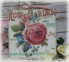 """NEW! """"Rose Garden"""" Vintage Shabby Country Cottage style Wall Decor Sign"""