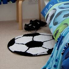 Catherine Lansfield Kids Childrens Black White Latex Backed Football Rug 65cm