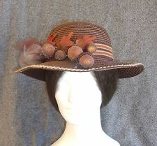 Striking Lady's Civil War Era Repro Brown Paper Straw Hat, Large Frosted Acorns