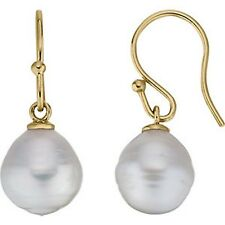 14KT Yellow Gold & Paspaley South Sea Pearl Earring Shepard Hook NEW 10 mm