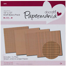 "Papermania Recycled 12x12"" Kraftstax scrapbooking card 20 pk 280gsm brown Kraft"