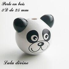 Perle en bois de 25 mm, Perle 3D Tête de panda : Blanc