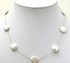 Genuine White Button Coin Pearl 925 Sterling Silver Chain Clasp Necklace