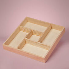 NEW SMALL 5 SECTION DIVIDED WOOD TRAY SHADOW BOX UNFINISHED PINE WOOD 8x8x1-1/2""