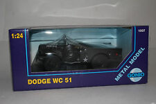 GONIO DIECAST DODGE WC51 U.S. ARMY MILITARY JEEP TRUCK, 1:24 SCALE, NEW IN BOX