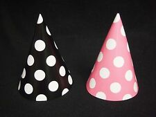 16 Lot Black & Pink Mickey Minnie Mouse Polka Dots Party Cone Hats Birthday