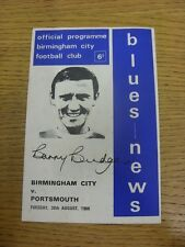 30/08/1966 Birmingham City v Portsmouth  (Creased, Light Foxing on Cover). Trust