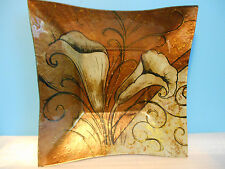 SQUARE CASED GLASS BOWL WITH CALA LILIES