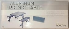 Picnic Time Portable Aluminum FOLDING PICNIC TABLE Seats 4 Gray #801-00-133 NEW