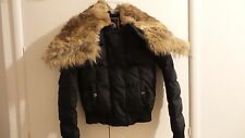 Pajar Canada Womens Black Brown Real Fur Down Puffer Jacket Removable Fur Sz XXS