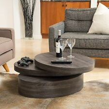 Modern Contemporary Black Oak Oval Mod Rotating Wood Coffee Table