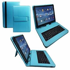 "10.1"" Quality Bluetooth Keyboard Case For BQ Aquaris M10 Tablet - Turquoise"