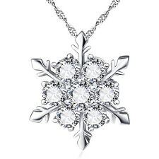 New Charm Lady Women Silver Plated Crystal Frozen Snowflake Pendant Necklace