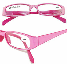 Two-tone Pink CALABRIA Reading Glasses Spring Temple Hinges Case +0.50
