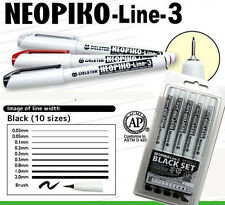 Deleter Neopiko-Line-3 Black 10 Pen Set Professional Art Supplies Manga NEW