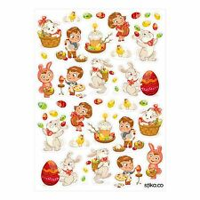Happy Easter Eggs Bunny Basket Stickers - 42 stickers - Seasonal Decorations