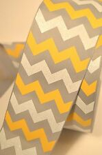 "3"" Wide Grey Yellow and White Chevron Stripe Glitter Grosgrain Cheer Bow Ribbon"