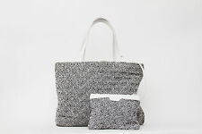 CHANEL RARE Grey Bouclé Knitted White Leather Beach Tote Satchel Handbag Large