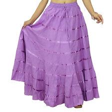 Purple Wear Baumwolle Rock e Maxi Boho Hippie indische Kleidung BSK341C