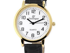 Damen Armbanduhr Classique Lederimitationsarmband schwarz Quarz Wristwatch